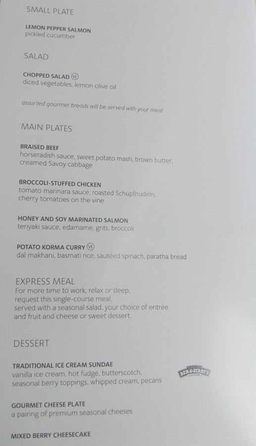 American Airlines 777-200 Business Class dinner menu