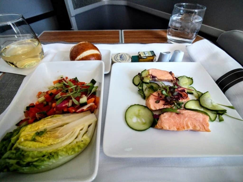 American Airlines 777-200 Business Class appetizer