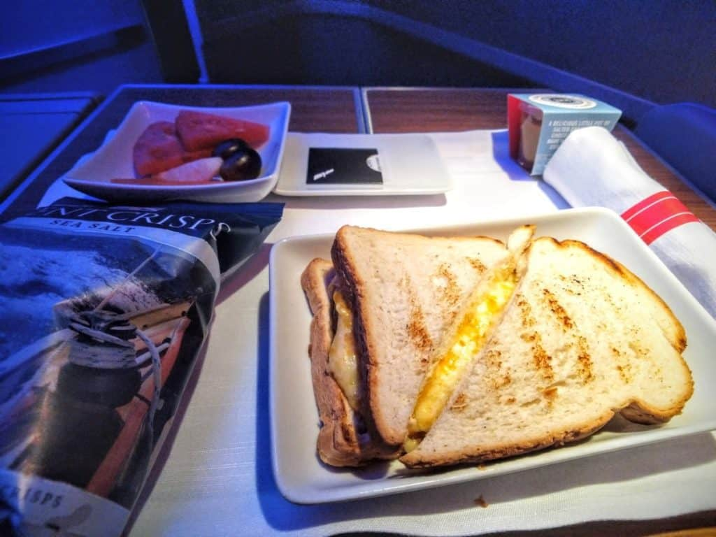 American Airlines 777-200 Business Class light meal
