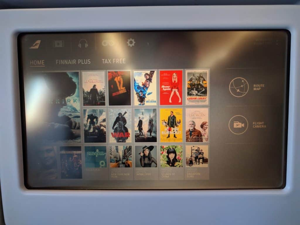 Finnair A330 Business Class IFE screen