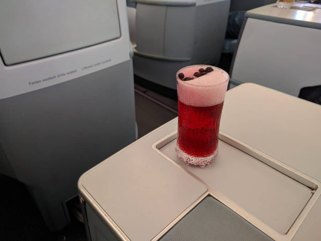 Finnair A330 Blue Sky drink