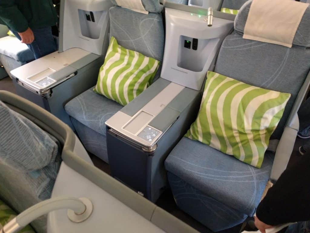 Middle seats of Finnair A330 business class