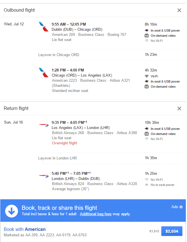 Google Flights User Interface