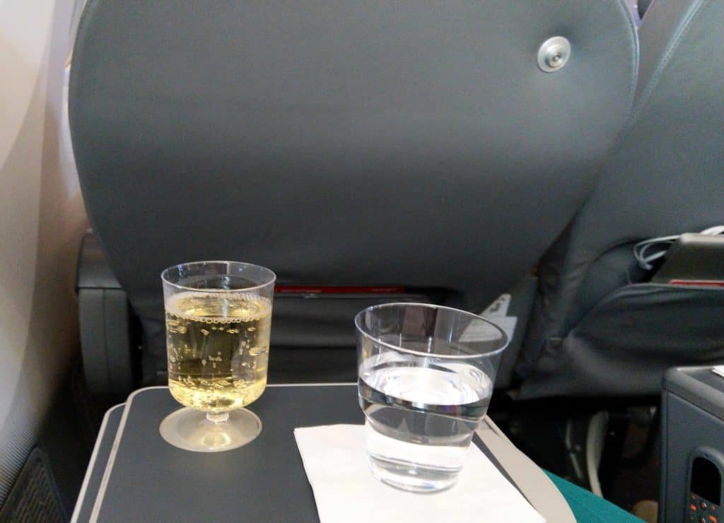 Norwegian 787-8 Premium Cabin welcome drinks