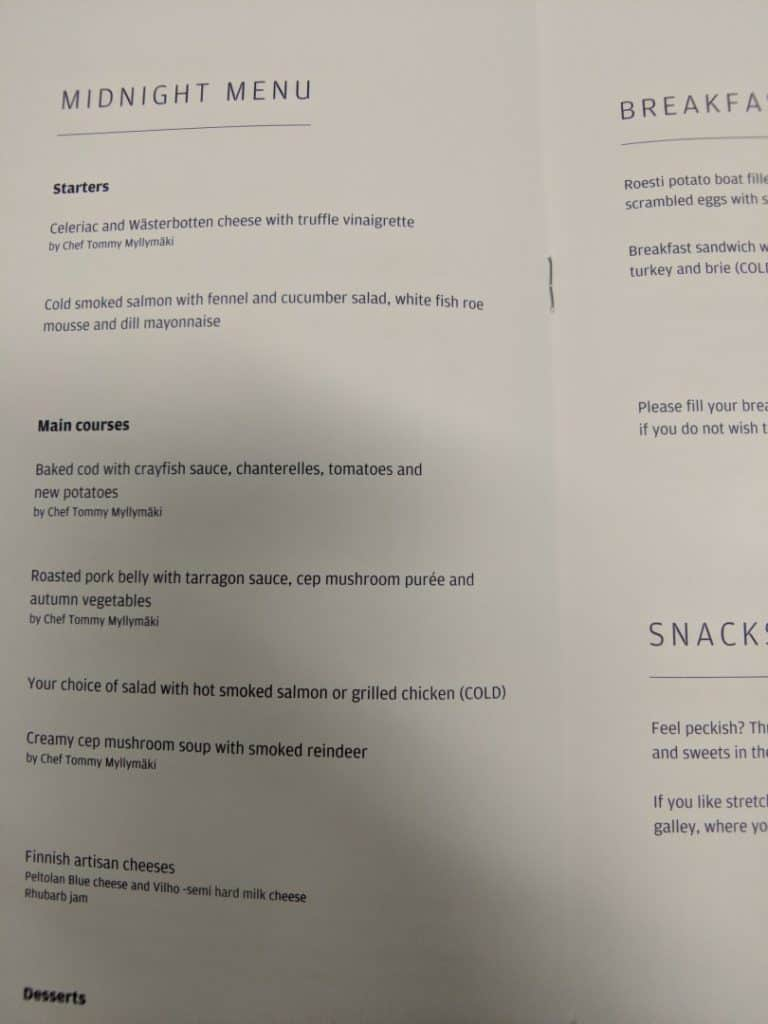 Finnair A330 Business Class Menu