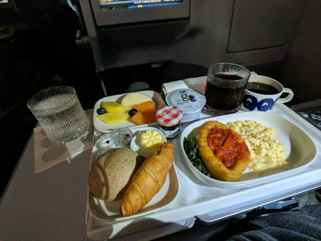 Finnair A330 Business Class Breakfast