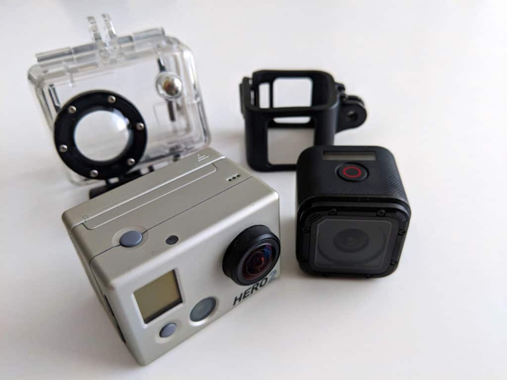 GoPro Session and GoPro Hero 2 with their protective covers