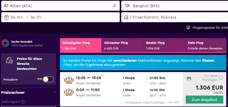 Business Class From Athens to Bangkok