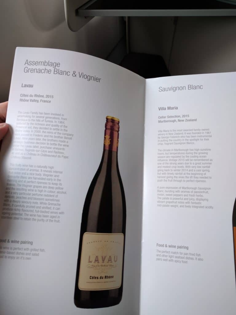 Qatar Airways business class white wine options
