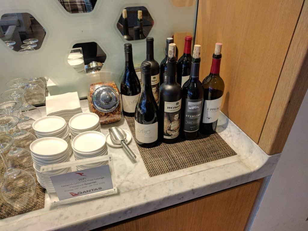 Qantas First Class Lounge LAX wine offering