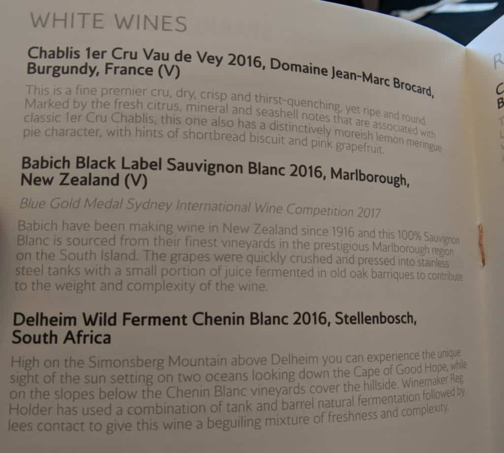 British Airways First Class (2018) White Wine options