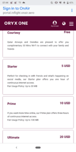 Qatar Airways Oryx One Internet Prices
