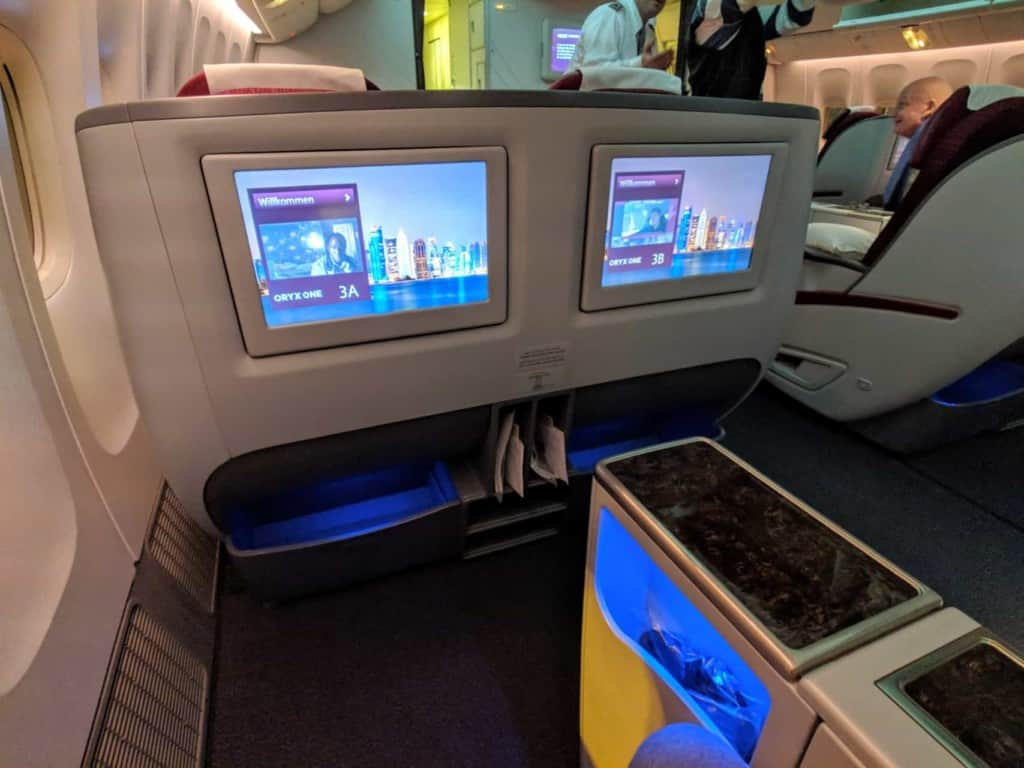 Qatar Airways 777 Bangkok to Doha - Business Class In Flight Entertainment system