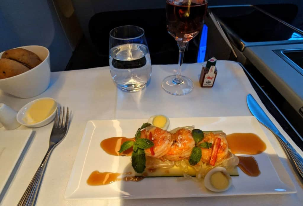 Qatar Airways 777 - Business Class Dining